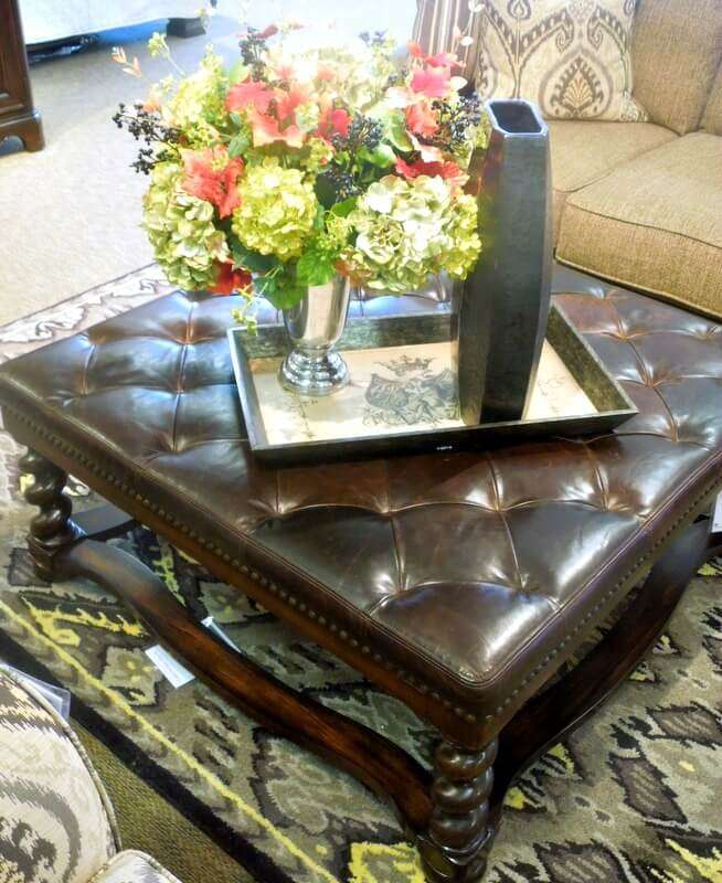 Havertys Leather Ottoman with Tray