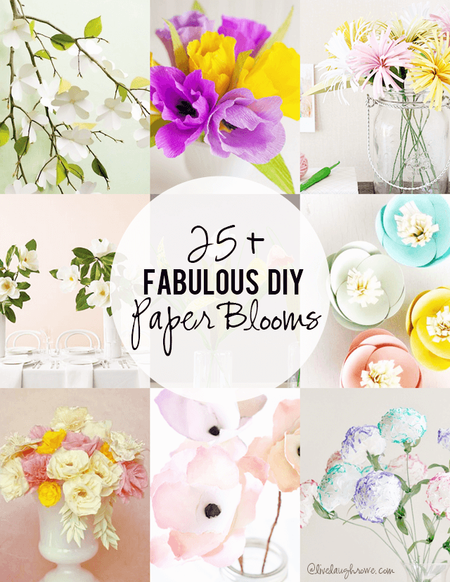 25+  DIY Paper Blooms featured as a favorite at Cook it! Craft it! Share it!