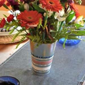 Make a 4th of July Table pop with this easy washi tape vase