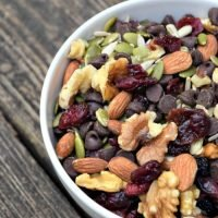 Paleo Snack Mix - Dark Chocolate, dried fruit, seeds and nuts - throw it together and put in portion control zip lock bags
