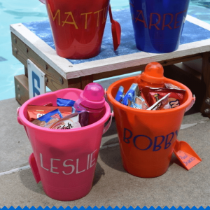 Make these Stenciled buckets with paint pens . Perfect for pool and beach snacks or for a party favor #paintyourway #pmedia #ad