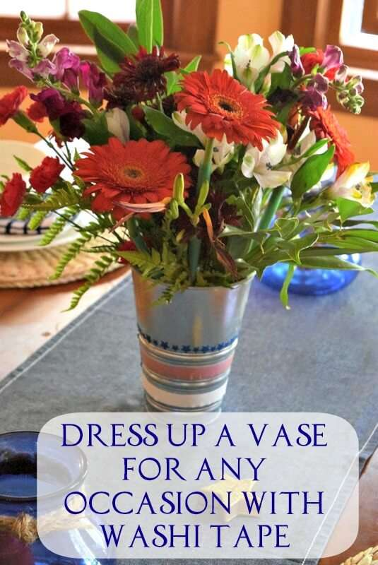 Decorate any vase with washi tape to liven up your holiday decor
