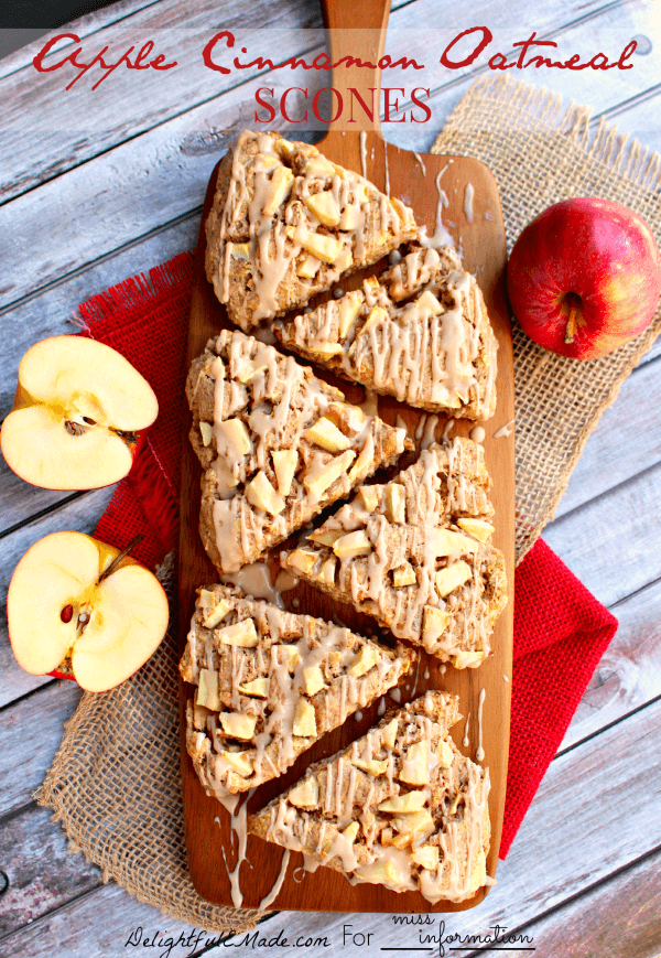Savor the flavors of fall with these delicious Apple Cinnamon Oatmeal Scones. Loaded with apples, spices and drizzled with a cinnamon glaze, these scones make for the perfect breakfast!