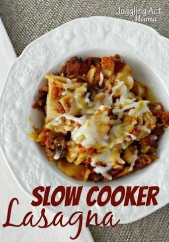 Slow Cooker Lasagna via Juggling Act Mama 340