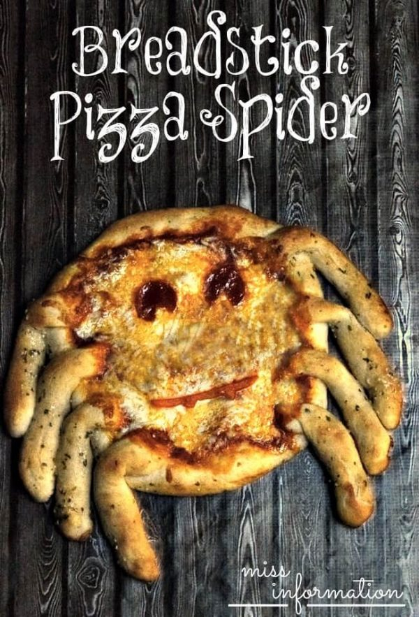 Make this easy pizza crust recipe for a fun breadstick Pizza Spider for Halloween and start having fun family pizza nights!