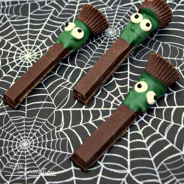 Kit Kat Frankenstein Halloween Treats - Easy to make with Reeses peanut butter cups and green candy quick