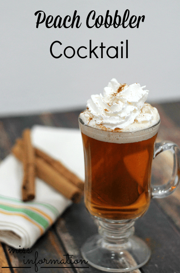 Inspired by the classic dessert, this peach cobbler cocktail is slightly sweet and completely delicious. Topped with whipped cream and cinnamon, it makes a perfect Fall drink!