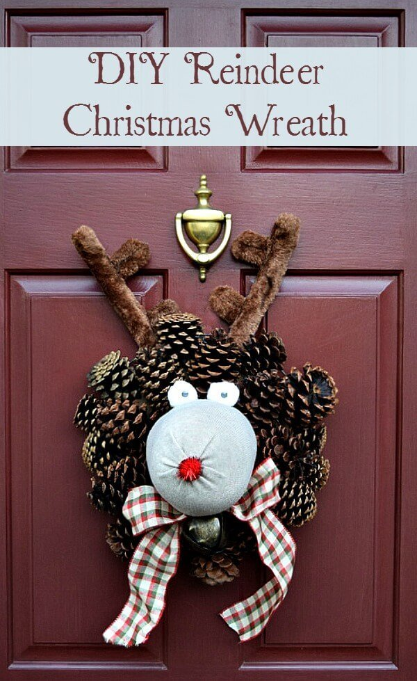 A step by step craft tutorial to make this fun reindeer Christmas wreath so much more fun than a regular green wreath