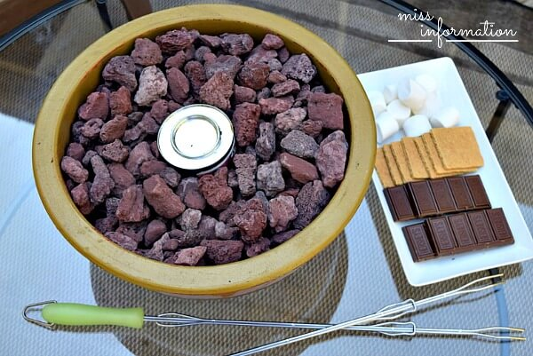 DIY table top fire pot and use it as a tabletop smore maker!