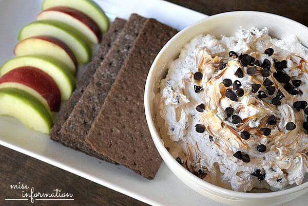 This chocolate chip caramel apple dip is the bomb. I am always in need of something quick I can whip up and take to a party. My husband said he had to leave the house or he would eat the entire bowl. It takes five minutes to put together and get out the door.