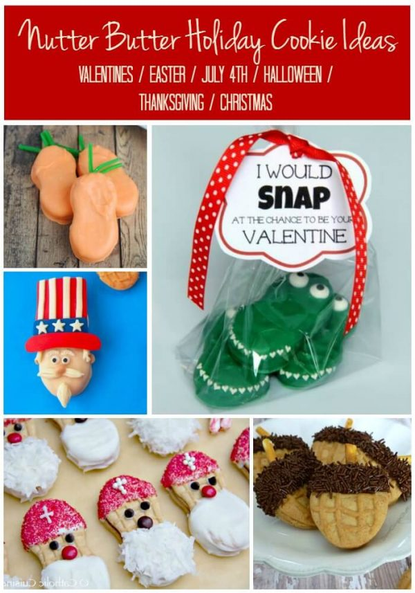 Nutter Butter Cookie Decorating Ideas for Every Major Holiday, Valentines, Easter, 4th of July, Halloween, Thanksgiving and Christmas. Pin it to every holiday board so you don't forget