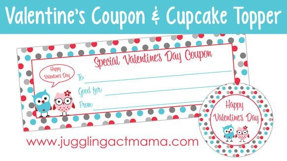 Free Printable Valentine coupon and cupcake toppers, also includes a recipe for pink velvet cupcakes - must make these for the kids!