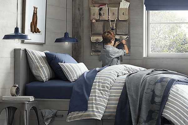 From RH baby and Child - Blue Ticking Kids Room Bedding