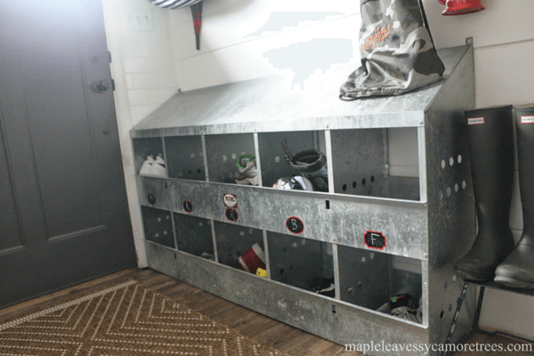 chicken nesting boxes as galvanized toy storage