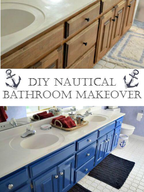 Before and After of a nautical children s bathroom just by painting  existing cabinets and accessorizing. Nautical Bathroom Makeover   Miss Information