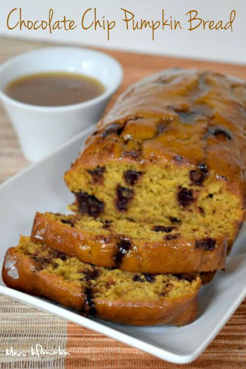 This easy chocolate chip pumpkin bread recipe is loaded with chocolate chips and topped with a caramel glaze to make this the decadent and best pumpkin bread recipe