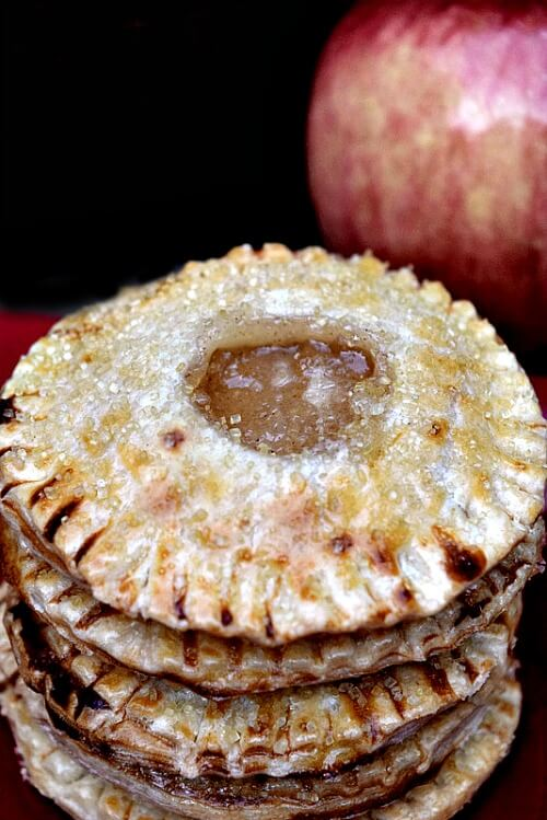These mini apple pie cookies are easy to make and just like a hand pie. They would be great stuck into a bowl of ice cream with salted caramel drizzled on it!