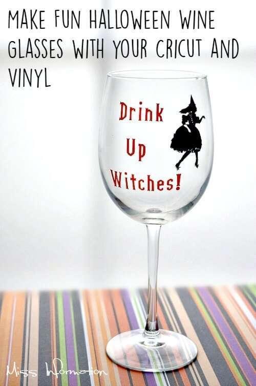 Diy Halloween Wine Glasses With Cricut Vinyl Miss