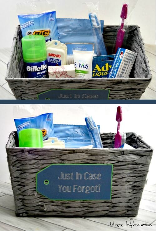This basket is great for out of town guest just in case they forget to pack something! Pinning for the Holidays