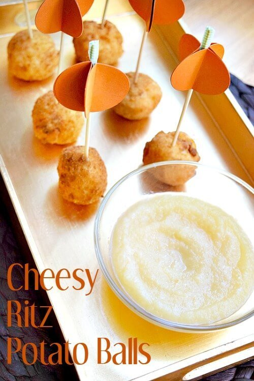 This Cheesy Ritz Cracker Potato Ball appetizer recipe is deep fried deliciousness! Plus Party Planning Tips for the holidays!