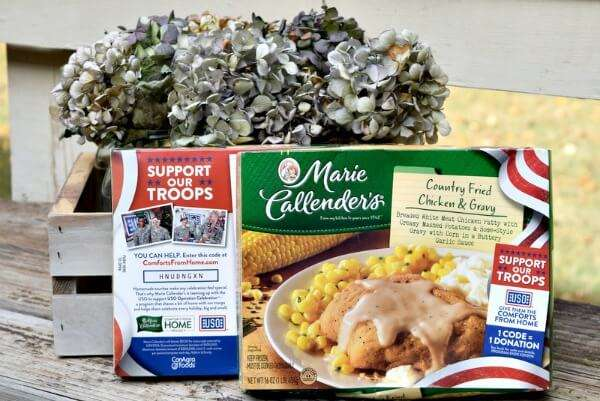 enter codes from specially marked boxes of Marie Callender's meals and desserts to help support our troops
