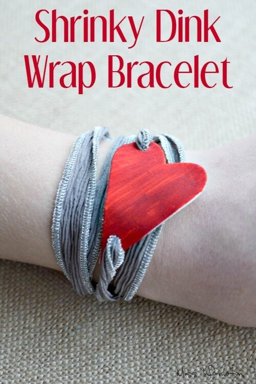 Make shrinky dinks jewelry into a million different things like this heart wrap bracelet. It's a fun retro craft that kids love and it costs almost nothing.