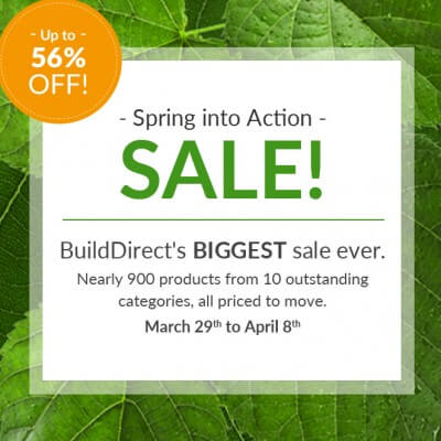It's Build Directs Spring into Action Sale with over 900 home improvement products on sale. Order tile online and more