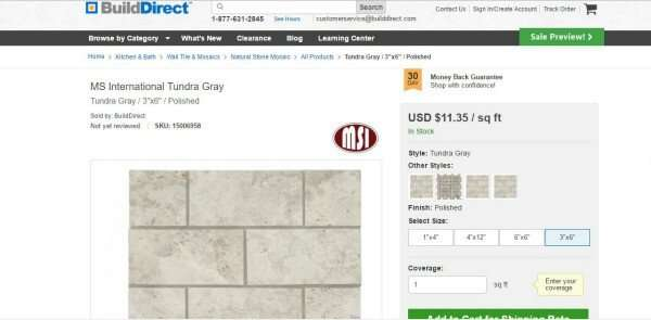 Ordering Tile Online like this 3x6 polished marble and save tons of money with build direct