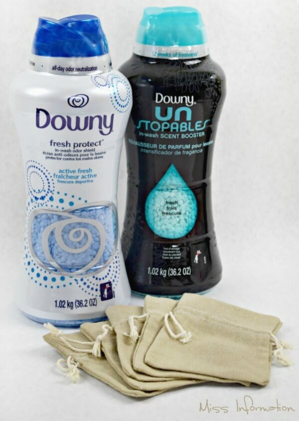 Homemade drawer sachets that take one minute to make with Downy Unstopables