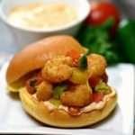 Popcorn Shrimp Sliders with Grilled Pineapple Salsa