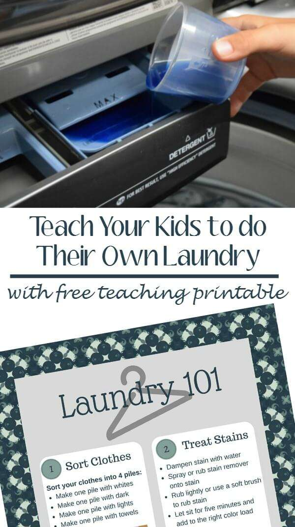 Teach your kids to do their own laundry and hang this step by step printable to remind them of the steps!