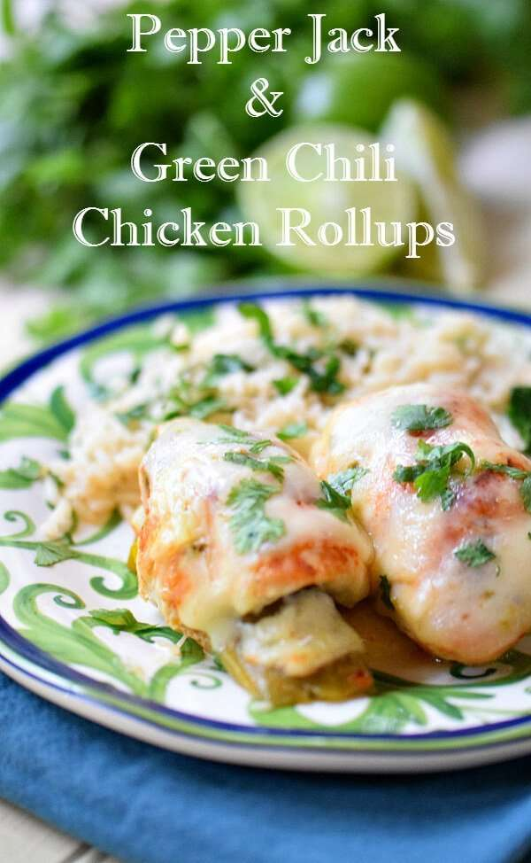 Mexican Chicken Roulades with Green Chilies may be simple to put together but they are loaded with flavor. Stuffed and smothered with real pepper jack cheese and mild green chilies and served with and easy cilantro lime rice they will become a weeknight regular.