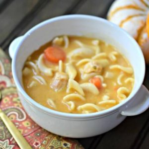 Pump up your soup with this chicken noodle pumpkin soup recipe. It's perfect for fall and takes less than 10 minutes to make!