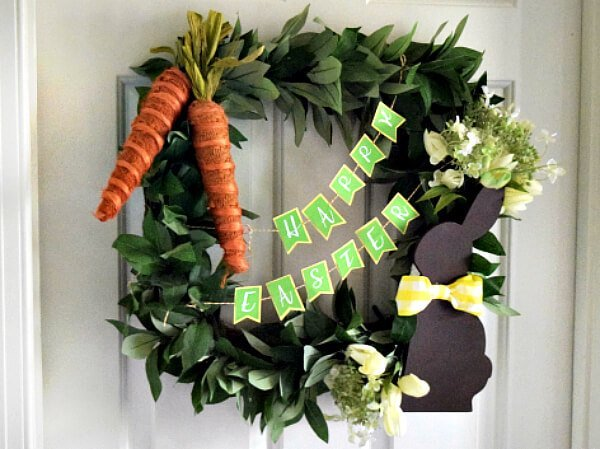Make this easy DIY Easter wreath and paper Happy Easter Banner Cricut Craft for a beautiful decoration on your door.