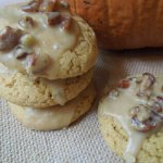 Pumpkin Cake Cookies with Maple Pecan Icing - These cookies are made from a boxed cake mix, so they