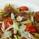 A quick and easy pasta dinner with sausage and blistered tomatoes, change it up lots of ways for a quick weeknight meal