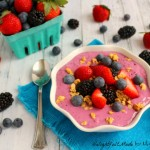 A fresh, flavorful, healthy breakfast! Blueberries, strawberries and blackberries along with Greek yogurt and chia seeds make this easy smoothie bowl the perfect way to start your day!
