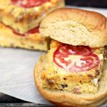 Make an easy back to school breakfast with this oven baked frittata recipe, made into sandwiches your kids can eat it in the car when your running late and they can be frozen!